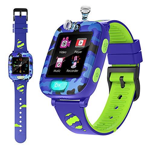 Orologio Intelligente per Ragazze Ragazzi con la Torcia Twinkle -Calcolatrice del Registratore Della Sveglia SOS Giochi Music Player Regalo di Compleanno Smartwatch per bambini di 3-12 Anni (Blu)