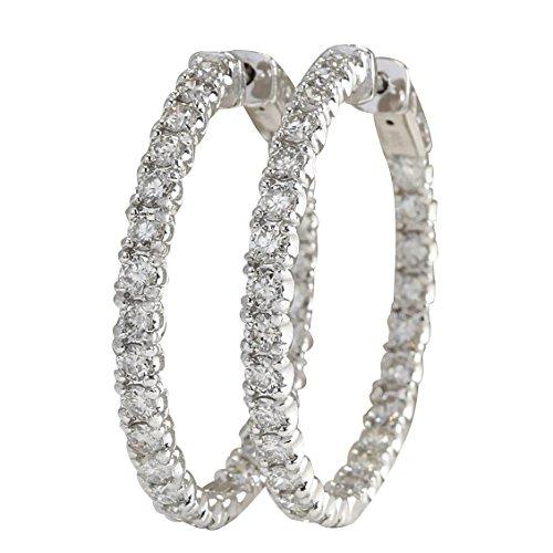 Pendientes de aro de oro blanco de 14 quilates con diamantes naturales (F-G, claridad VS1-VS2) de 4,86 quilates para mujer exclusivamente hechos a mano en Estados Unidos.