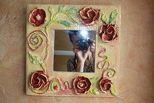 Wandspiegel aus Pappmache, 33/34cm