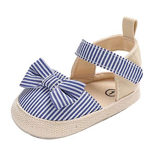 BBmoda Zapatos Bebe Niña Verano Primeros Pasos para Recién Nacido 0 3 6 9 12 18 Meses Sandalias de Suela Blanda con Loop Fastener y Lazo Rayado