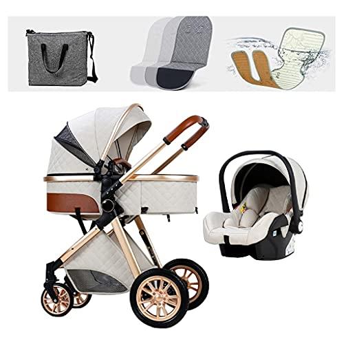 JIAX Cochecito De Bebé Ligero Cochecito para Recién Nacidos 3 En 1 Sistema De Viaje para Cochecito De Bebé con Cubre Pies Parasol Protector Sabanas Mosquitera Mochila (Color : White)