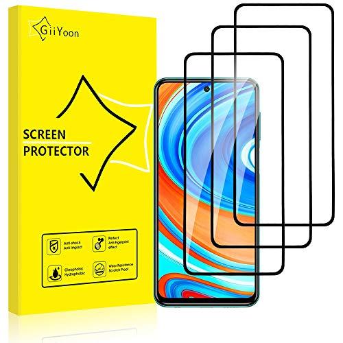 GiiYoon-3 Piezas Protector de Pantalla para Xiaomi Redmi Note 9S/Redmi Note 9 Pro Cristal Templado,[Sin Burbujas] [Cobertura Completa] [9H Dureza] Vidrio Templado HD Protector Pantalla