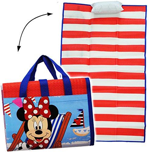 alles-meine.de GmbH gepolsterte _ Strandmatte / Strandunterlage -  Disney Minnie Mouse  - 75 cm * 150 cm - incl. aufblasbares Kissen - wasserfest - Faltbare Picknick Decke / al..