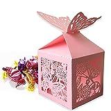 Cajas de Regalo para Dulces, 30 Cajas de Dulces de Papel Rosa con Forma de Mariposa Hueca, Cajas Pequeñas de Cartón de Chocolate para Regalo de Boda, Cajas de Dulces para Regalos de Fiesta