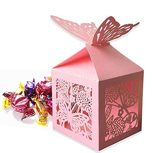 Süßigkeiten Box, 30 Stück Rosa Papier Süßigkeitenboxen, Hohlschmetterling Chocolate Cardboard Kleine Boxen, Schmuck Geschenkbox, Hochzeitsgast Geschenkbox, Babydusche Party Begünstigt Süße Schachteln