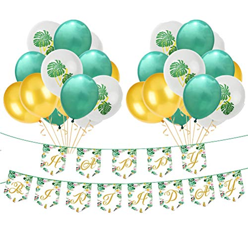 Amosfun - 25 globos de látex hawaiano con forma de hoja de palma, sin poste (8 globos verdes, 8 globos dorados, 1 pancarta y 8 globos de impresión)