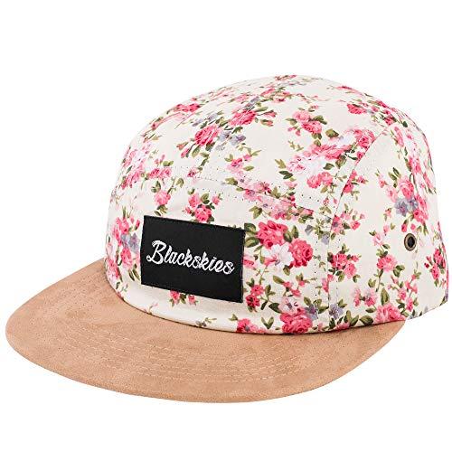Blackskies 5-Panel Cap mit floralen Muster Unisex Baseball Mütze, Sakura, Einheitsgröße