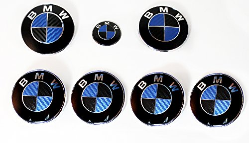 Black and Blue Carbon Fiber Sticker Overlay Vinyl for All BMW Emblems Caps Logos Roundels Oracal