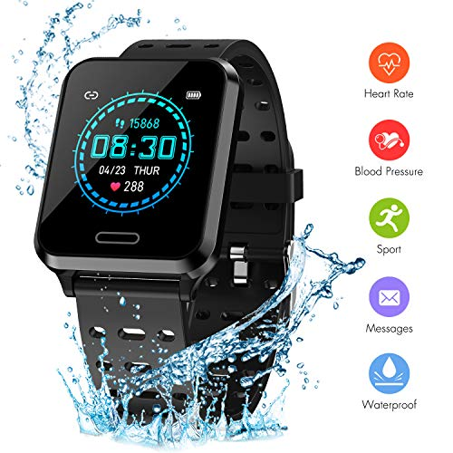 "Newatch Smart Watch for Android & iOS Phone, Health and Fitness Tracker with Heart Rate Monitor Blood Pressure Detection Step Calorie Sleep Monitor, IP67 Waterproof Smartwatch 1.3"" Touch Screen-Black"