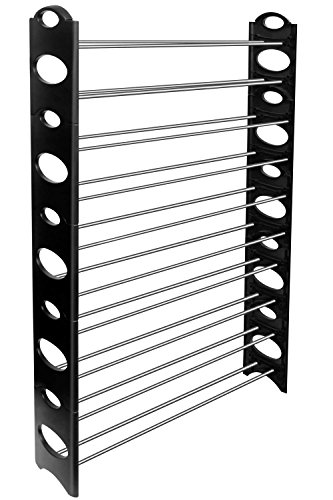 KIKIONLIFE 50-Pair Shoe Rack Storage Organizer 10-Tier Portable Wardrobe Closet Bench Tower Stackable Adjustable Shelf - Strong Sturdy Space Saver Wont Weaken or Collapse - Black