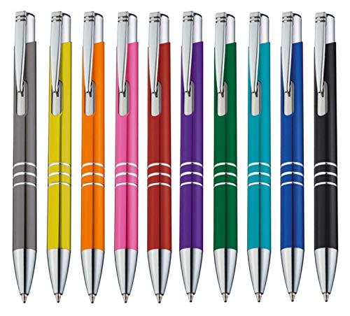 StillRich Industries 10 Stück bunte Metall Kugelschreiber Set Premium Kulli, ballpoint pen, hochwertige, ergonomische und blauschreibende Kugelschreiber (bunt)