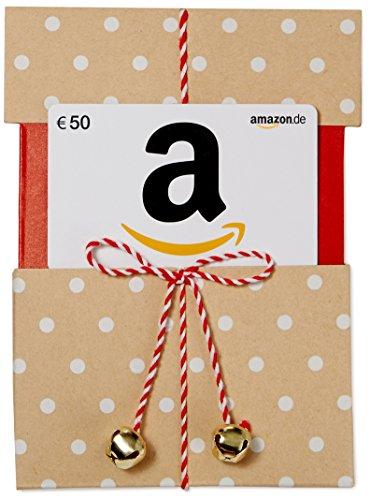 Amazon.de Geschenkkarte in Geschenkschuber - 50 EUR (Beige mit Punkten)