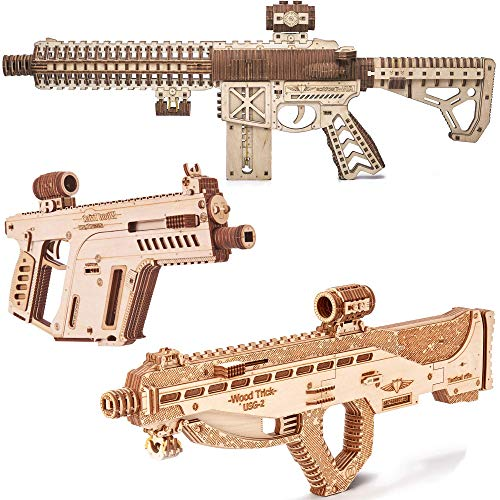 Wood Trick Assault Gun AR-T + Assault Gun USG-2 + Assault Gun Bundle - 3D Wooden Puzzle Kits - Wooden Model Kits to Build