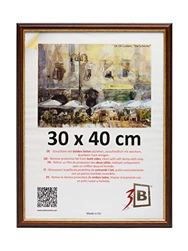 3-B Bilderrahmen BARI RUSTIKAL - dunkel braun – 30x40 cm - Holzrahmen, Fotorahmen, Portraitrahmen mit Plexiglas