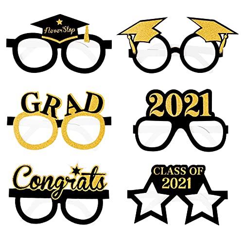 Qpout 12 Pieces 2021 Graduation Party Decoration Eyeglasses Frame, Class of...