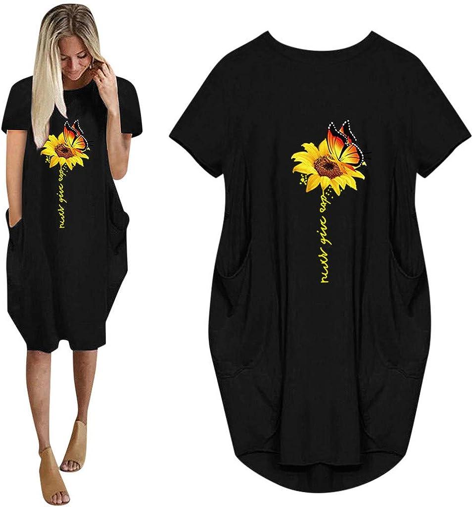 Dresses for Women Casual Jumper Sunflower Short Sleeve Mini Dress Sundress Pullover Loose Shirt Dress with Pockets