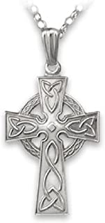 Celtic Cross Necklace Sterling Silver Single Sided Made in Ireland