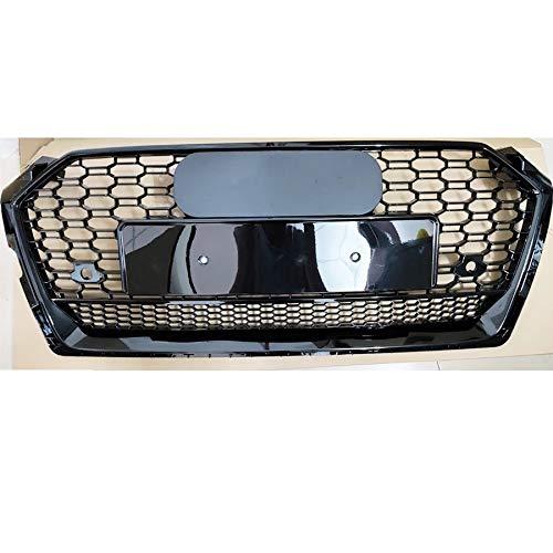 SHANYUR for RS5 Stil Vorder Sport Sechseckgitter Honeycomb Hood Grill Schwarz/Fit for Audi A5 / S5 B9 2017-2019 Autozubehör (Color : Black Emblem)