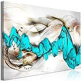 murando Cuadro en Lienzo Abstracto 120x80 cm 1 Parte Impresión en Material Tejido no Tejido Cuadro de Pared impresión artística fotografía decoración- Oro Turquesa a-A-0655-b-a
