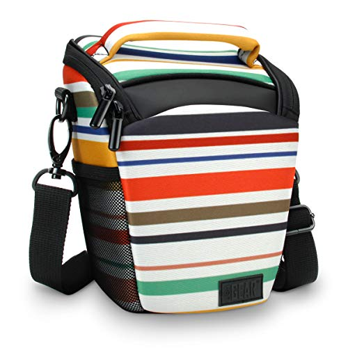 USA Gear SLR Camera Case Bag (Stripe) with Top Loading Accessibility , Adjustable Shoulder Sling , Padded Handle , Weather Resistant Bottom - Comfortable, Durable and Light Weight for Travel