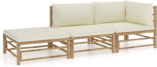 vidaXL 3-delige Loungeset met crèmewitte kussens bamboe