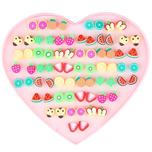 Bewish, 36paia di orecchini ipoallergenici, con design della frutta, per bambine e ragazze