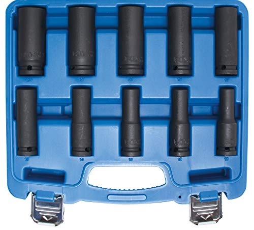 BGS 5206 | Kraft-Steckschlüssel-Einsatz-Satz Sechskant, tief | 10-tlg. | 12,5 mm (1/2