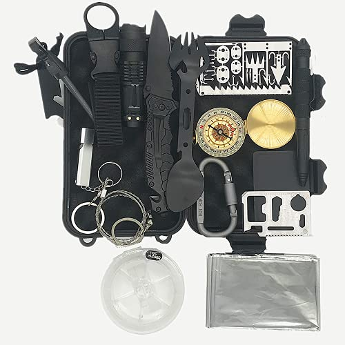 Survival Kit,15 in 1 Professional Survival Gear Tool...