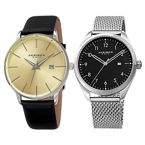 Akribos XXIV Men's 2 Watch Set - Clear and Classic Watches, I Mesh Bracelet with Arabic Numerals, 1 with Genuine Leather Band Both with Date Window - AK1062 (Silver)