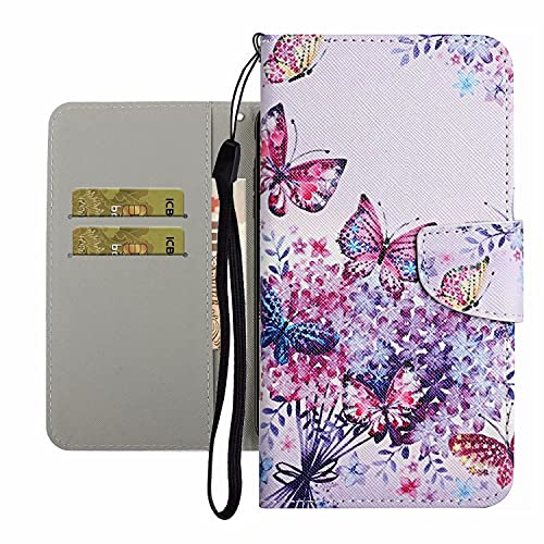 TYWZ Coque avec Fente Carte pour iPhone 6S/6,Etui Housse en PU Cuir Portefeuille Fermeture Magnétique Full Body Flip Cover-Papillon Fleur