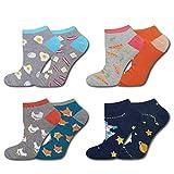 soxo Herren Bunte Sneaker Socken | Größe 40-45 | 4er Pack | Baumwolle Herrensocken mit Lustigen Motiven | Perfekt für Flache Schuhe | Tolle Ergänzung für Ihre Garderobe