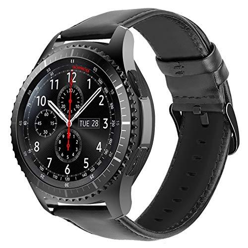 iBazal 22mm Cinturino Pelle Banda Compatibile con Samsung Galaxy Watch 3 45mm/Gear S3 Frontier/Classic,Galaxy Watch 46mm SM-R800,Huawei Watch GT/2 Classic,Ticwatch PRO (Orologio Non Incluso) - Nero
