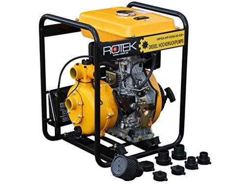 Rotek Hochdruck Motorpumpe mit 4-Takt Dieselmotor, 2 Zoll Anschlüsse, bis zu 80m Förderhöhe
