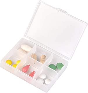 Household Small Pill Box Portable One Week Filling Kit with Storage Sub-Boxes Mini Drugs Pill Box Sealing Kit Medicine Box (Color : Clear, Size : 8.4cm×6.3cm×2cm)