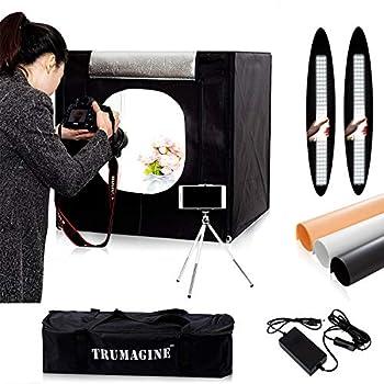 24  x24 x24  Photography Photo Studio Light Box LED Cube Tabletop Light Shooting Tent Kit for Studio Lighting with 3PCS PVC Backdrops and Mini Tripod All in Portable Carry Bag