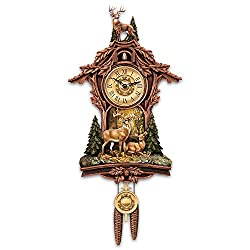 The Bradford Exchange Sculpted Deer Cuckoo Clock with Sculpted 10 Point Buck at Top