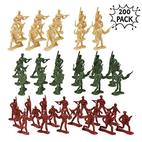 THE TWIDDLERS 200 Plastik Soldaten & Mini Spielzeug Figuren in 6 verschiedenen Ausführungen - kleine Plastik Militär Spielfiguren in 3 Armee Miniatur Figuren - ideales Innenspielzeug für Kinder