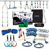 50' Ninja Slackline - Ninja Warrior Obstacle Course - 11 Accessories - Ninja Warrior Training Equipment for Kids - Strong Enough for Adults - Slack Line Kit - Backyard Ninja line