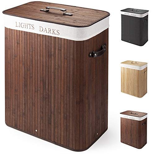 Cesto para la Colada de Bambú Cesto para Ropa Bambú 100 L Cestos para la Colada con Asas Cesta para Ropa Pelegable Saco extraíble para la Ropa Sucia con 2 Compartimentos Separados (Marrón oscuro)