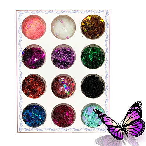 12 Colors/Set 3D Butterfly Nail Glitter Sequins, Kalolary Splarkly Laser Butterfly Nail Sequin Acrylic Paillettes Holographic Nail Sparkle Glitter Sheets Tips Nail Art Decoration