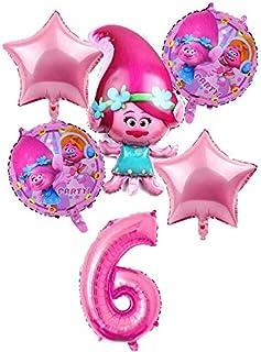 HOT-Ballons & Accessories - 6 pcs/lot Trolls Balloons Baby Happy Brithday Helium Foil Air Balloon Wedding Supplies Decorat...