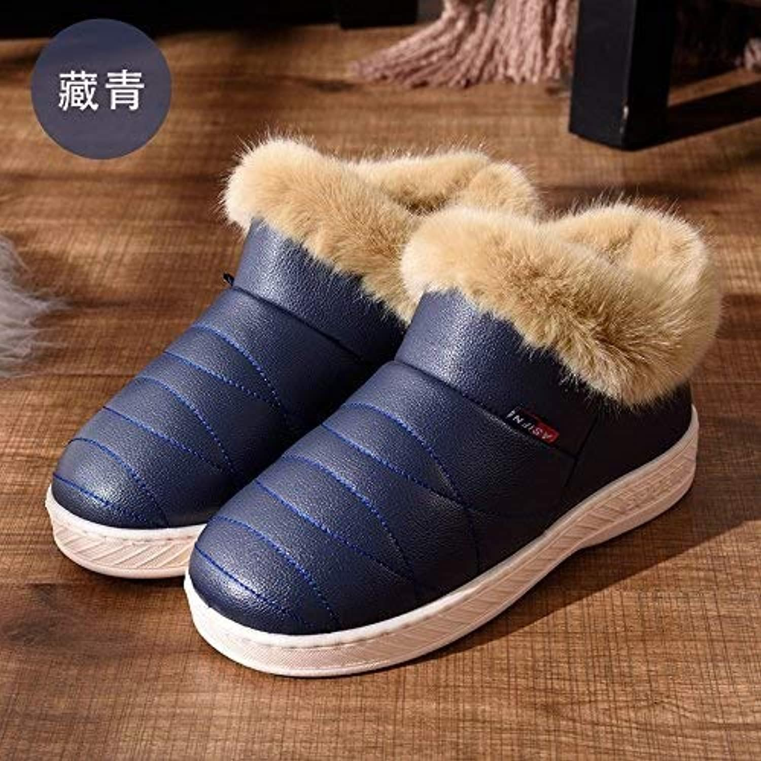 Ladies Anniversary Ring Winter Cotton Slippers Bag with Female Couple Home Home Waterproof Non-Slip Warm Thick Men and Women Months Cotton shoes, (color   High Help, Size   46-47)