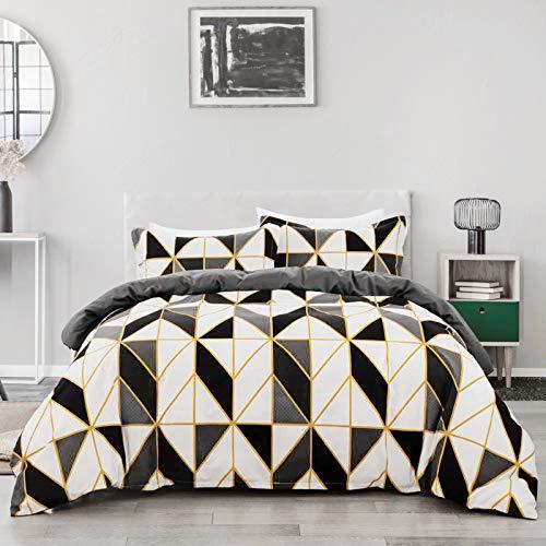 JSFN Ropa de cama con diseño geométrico de cuadrícula de rombos, 135 x 200 cm, con cremallera, funda nórdica y funda de almohada moderna (gris, 200 x 200 cm)