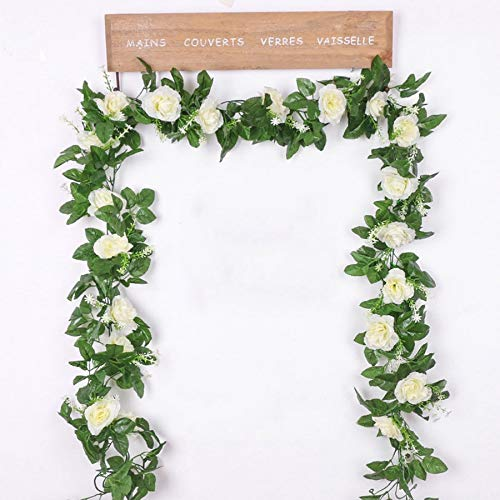 Mistari Silk Artificial Rose Vine Hanging Flowers for Wall Decoration Rattan Fake Plants Leaves Garland Romantic Wedding Home Decoration- Fake Flowers - Plant Wall Decor-White
