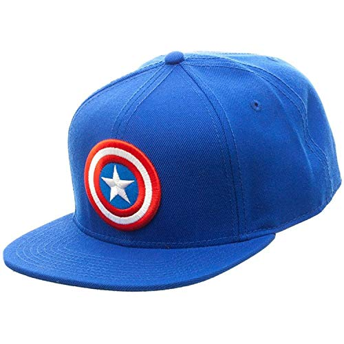 Marvel Comics Captain America Licensed Logo Adjustable Snapback Cap Hat Blue