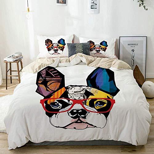Juego de Funda nórdica Beige, Retrato de Bulldog francés con Gafas Hipster Abstracto Moderno Orejas y Ojos Coloridos, Juego de Cama Decorativo de 3 Piezas con 2 Fundas de Almohada