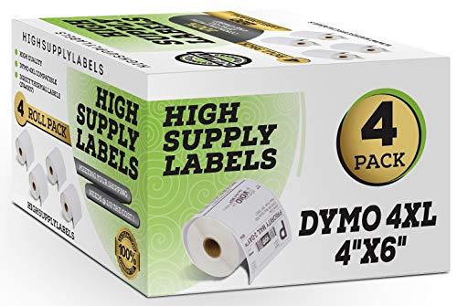 Dymo 4XL Labels (4 Pack) Compatible 1744907 4x6 Dymo Labels, Dymo 4x6 Labels, Dymo Labels 4x6, Dymo 4XL Labels 4x6, 4XL Thermal Labels, 4XL Shipping Labels, 4x6 4XL Dymo Labels