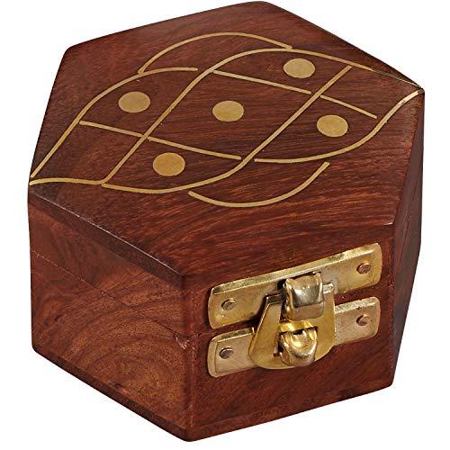 Oosterse opbergdoos met deksel Delya 7 cm | Oosterse sieradenkistje voor meisjes en dames voor het bewaren van sieraden | Marokkaanse kleine doos doos van hout