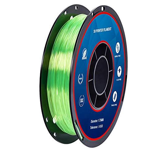 TPU-Filament 500 g, 3D-Druckerfilament 1,75 mm, für 3D-Drucker, unglaublich flexibel-Transparentes Grün