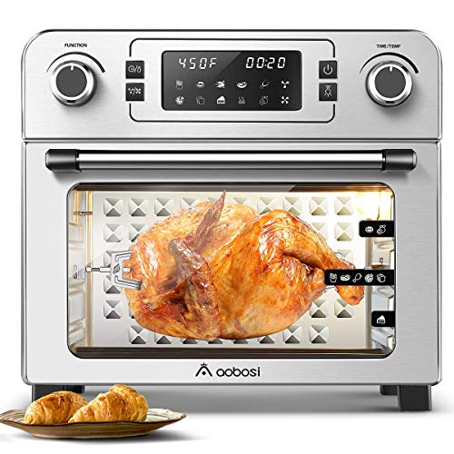 "Aobosi Toaster Oven Air Fryer Oven Toaster Convection Oven Digital Countertop Rotisserie Oven Pizza Oven 10-in-1 Multi-Function Toast/Roast/Broil/Bake/Dehydrate|Large 24Qt|Recipe|1700W 16x13x16"" (Renewed)"